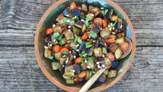 Purple But Not Barney: Eggplant and Baby Tomato Salad