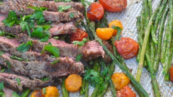 Flank Steak + Charred Tomatoes and Asparagus