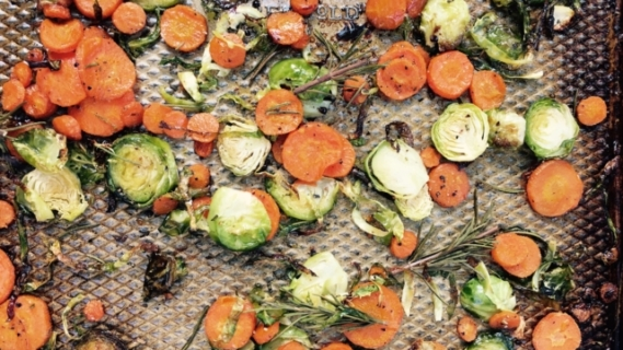 Carrots and Brussels Sprouts + Rosemary