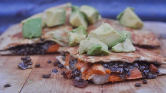 Quesadillas with Lentils + Sweet Potatoes