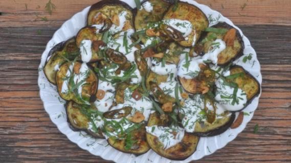 Eggplant with Crispy Garlic, Yogurt + Herbs