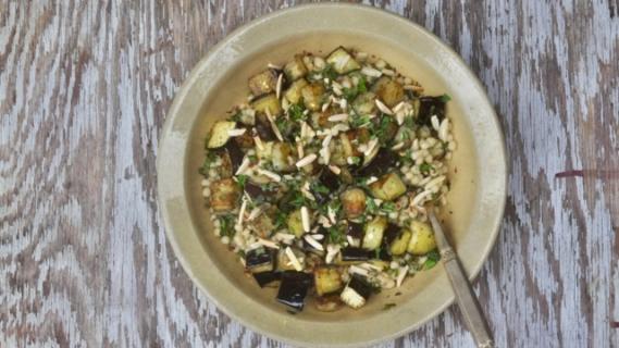 Israeli Couscous + Eggplant