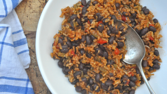 Red Rice, Black Beans and Green Chile